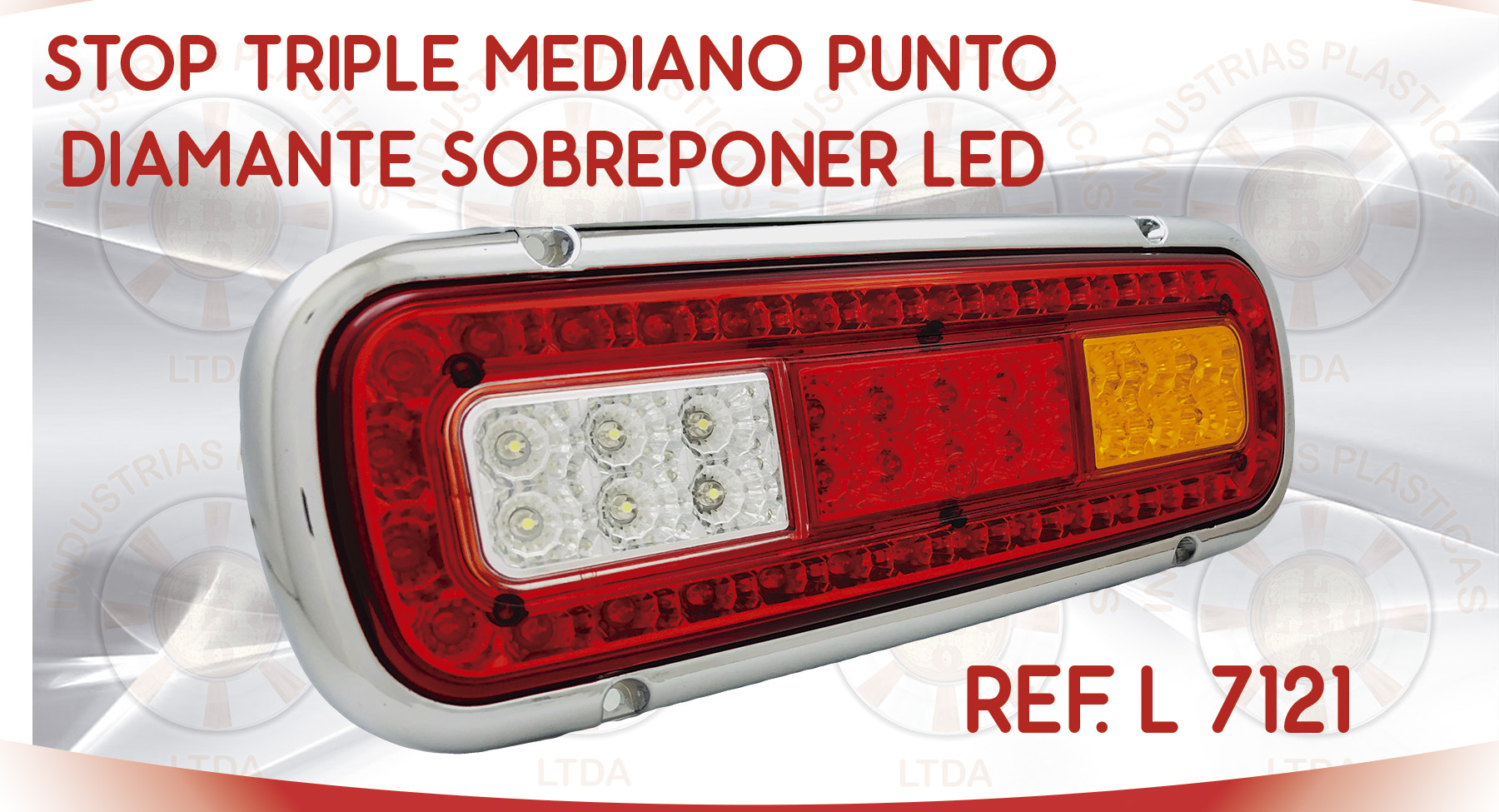 L 7121 STOP TRIPLE MEDIANO PUNTO DIAMANTE SOBREPONER LED